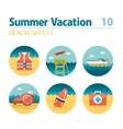 Lifeguard beach safety icon set Summer Vacation vector image