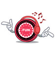 listening music funfair coin mascot cartoon vector image vector image