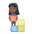 little african girl playing with clourful cubes vector image vector image