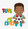 little boy playing with toys character vector image vector image
