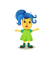 lovely girl troll with blue hair and yellow skin vector image vector image
