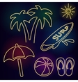 neon beach icons vector image