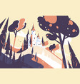 old fairytale castle standing on hill landscape vector image