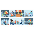people walking in winter family in wintry park vector image vector image