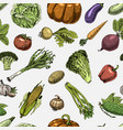 seamless pattern with sketch vegetables and vector image