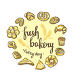 set bakery icons bread cookies cake pie bakery vector image