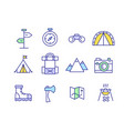 set line art funny travel camping hiking icons vector image