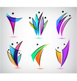 set men people group family logos vector image vector image