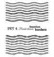set of hand-drawn seamless borders vector image vector image