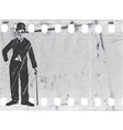 silhouette chaplin on old film vector image vector image