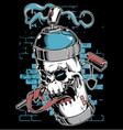 spray paint skull face graffiti cartoon character vector image