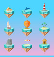 tropical island symbols polygonal icons set vector image vector image