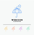 umbrella camping rain safety weather 5 color line vector image