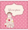 Vintage background with banner and baby girl vector image vector image