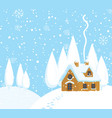 winter landscape with a house on snow-covered hill vector image vector image