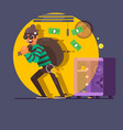 burglar thief in mask on the big opened safe full vector image