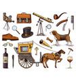 gentleman accessories hand drawn set victorian vector image