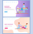 apparatus and back massage for woman web vector image vector image