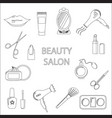 beauty salon set of flat cartoon icons business vector image vector image