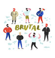 brutal man flat characters collection bearded vector image