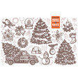 bundle for merry christmas and new year design car vector image