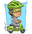 cartoon brunette girl character riding on scooter vector image vector image