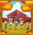 Cartoon happy kids in front house at autumns seaso