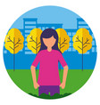 character woman city park trees vector image vector image