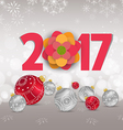 Christmas and Happy new year 2017 with red bauble vector image vector image