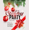 christmas party poster with hand lettering vector image vector image