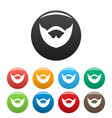 clipped beard icons set color vector image vector image