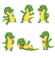 collection of cute crocodile character cartoon vector image