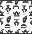 copyright ink pot and feather monochrome seamless vector image