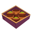 cupcakes or muffins and chocolate candy in box vector image vector image