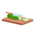 cut green cucumber vegetable isometric cutter vector image