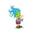 cute girl troll with blue hair and green skin vector image
