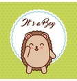 cute purcopine animal card baby shower vector image