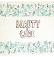 doodle cosmetics and self-care background vector image