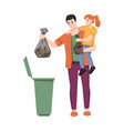 dustbin father and daughter throw garbage in trash vector image vector image