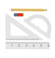 Education set Pencil eraser protractor vector image