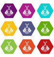 electric guitar icons set 9 vector image