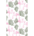 flamingos and palm leaves seamless pattern vector image