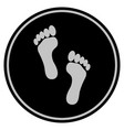 footprints black coin vector image vector image