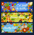 fruits and berries detox nutrition gmo free vector image vector image