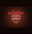 glowing neon signboard barber shop on brick wall vector image vector image