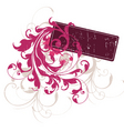 grunge floral tag vector image vector image