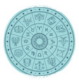 grunge horoscope signs in astrology circle vector image
