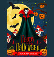 halloween night celebration banner with vampire vector image vector image