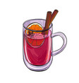 hand drawn cup with mulled wine vector image