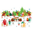happy christmas monsters carry gifts in multi vector image